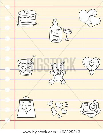 Illustration of love theme for paper collection stock
