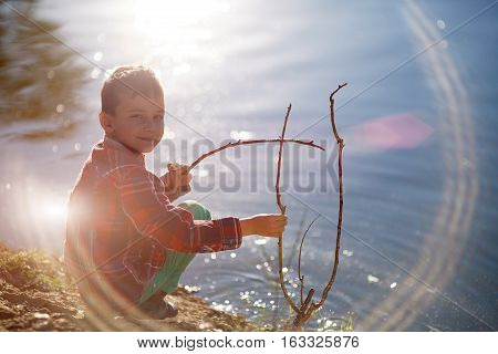 fishing boy eight years old sunny day