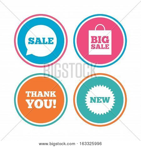 Sale speech bubble icon. Thank you symbol. New star circle sign. Big sale shopping bag. Colored circle buttons. Vector