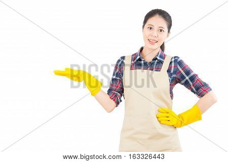 Housewife Showing Hand Presenting Gesture