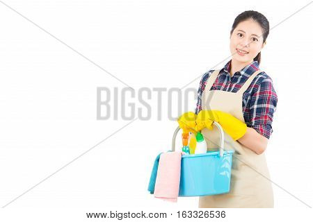 Woman Holding Cleaning Products In Bucket