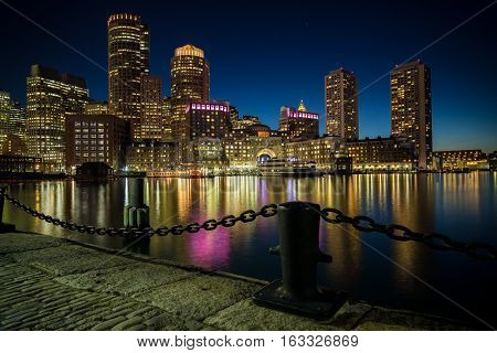Boston, Ma - May 16: Night Time View Of The Skyline As Seen From Fan Pier Park On May 16, 2016 In Bo
