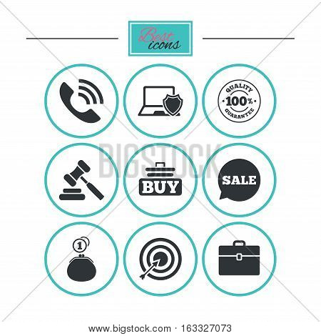 Online shopping, e-commerce and business icons. Auction, phone call and sale signs. Cash money, case and target symbols. Round flat buttons with icons. Vector