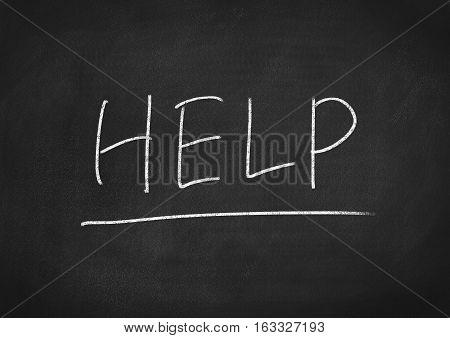 help concept word on blackboard chalkboard background