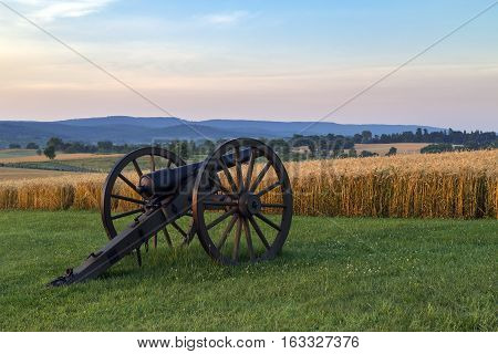 Artillery in front of wheat field at Antietam National Battlefield in Sharpsburg, Maryland. The battle at Antietam was the bloodiest single-day battle in American history.
