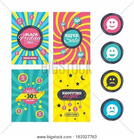 Sale website banner templates. Speech bubble smile face icons. Happy, sad, cry signs. Happy smiley chat symbol. Sadness depression and crying signs. Ads promotional material. Vector
