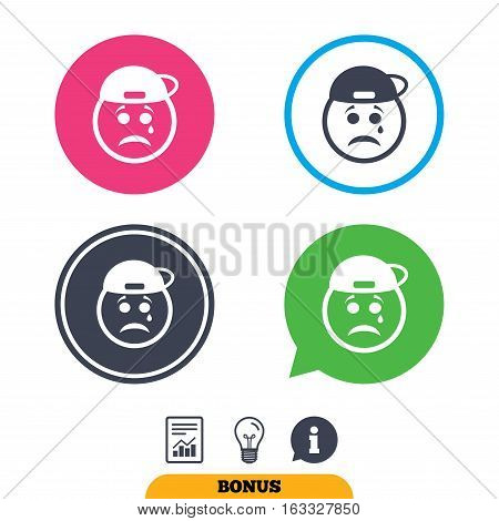 Sad rapper face with tear sign icon. Crying chat symbol. Report document, information sign and light bulb icons. Vector