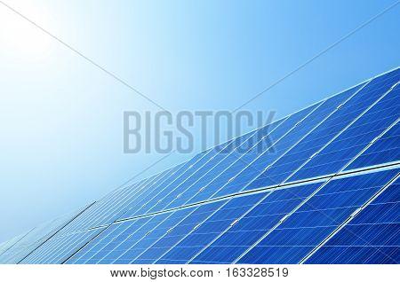Solar panels under blue sky , China