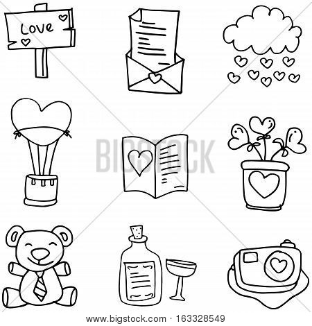 Hand draw of romance love doodle collection stock