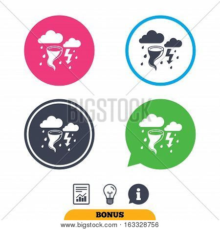 Storm bad weather sign icon. Clouds with thunderstorm. Gale hurricane symbol. Destruction and disaster from wind. Insurance symbol. Report document, information sign and light bulb icons. Vector