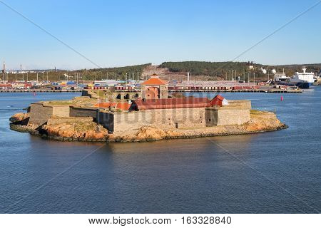 Sea fortress Alvsborg or Elfsborg at the mouth of the Gota River in the archipelago of Gothenburg Sweden Scandinavia
