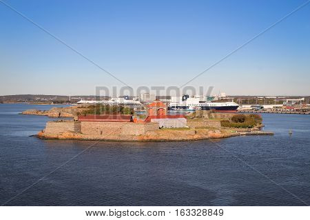Gothenburg Sweden - October 4 2016: Sea fortress Alvsborg or Elfsborg at the mouth of the Gota River in the archipelago of Gothenburg Sweden Scandinavia