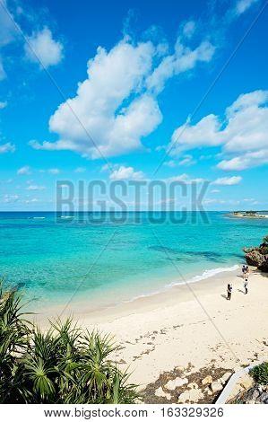 Panoramic bird eye aerial view of beautiful sea level with fantasy blue sky in Okinawa Japan