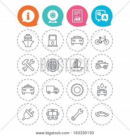 Transport and services icons. Ship, car and public bus, taxi. Repair hammer and wrench key, wheel and cogwheel. Sailboat and bicycle. Information, question and answer icons. Web camera, report signs