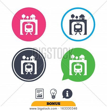 Underground sign icon. Metro train symbol. Report document, information sign and light bulb icons. Vector