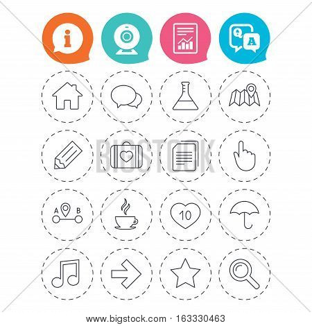 Universal icons. House building, speech bubbles and first aid box. Copy documents, like counter and hot coffee drink. Map pointer, arrow and favorite star. Information, question and answer icons