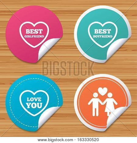 Round stickers or website banners. Valentine day love icons. Best girlfriend and boyfriend symbol. Couple lovers sign. Circle badges with bended corner. Vector