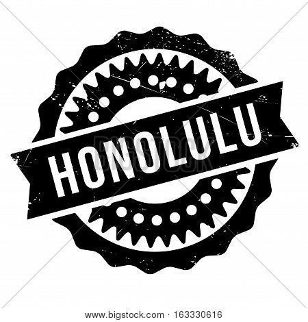 Honolulu stamp. Grunge design with dust scratches. Effects can be easily removed for a clean, crisp look. Color is easily changed. rubber grunge