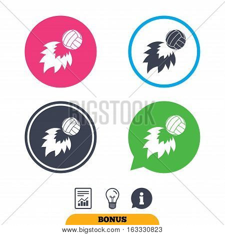 Volleyball fireball sign icon. Beach sport symbol. Report document, information sign and light bulb icons. Vector