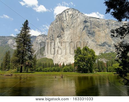 El Capitan Big Wall and Merced River. Yosemite Valley, California