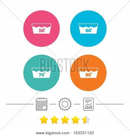 Wash icons. Machine washable at 50, 60, 70 and 80 degrees symbols. Laundry washhouse signs. Calendar, cogwheel and report linear icons. Star vote ranking. Vector
