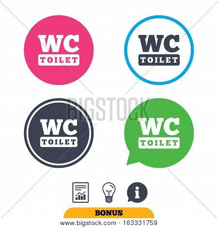 WC Toilet sign icon. Restroom or lavatory symbol. Report document, information sign and light bulb icons. Vector