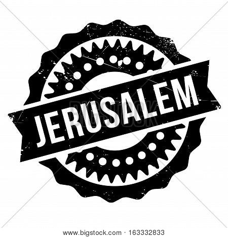 Jerusalem stamp. Grunge design with dust scratches. Effects can be easily removed for a clean, crisp look. Color is easily changed. rubber grunge