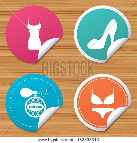 Round stickers or website banners. Women dress icon. Sexy shoe sign. Perfume glamour fragrance symbol. Intimates underwear. Circle badges with bended corner. Vector