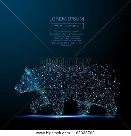 Abstract image of a bear in the form of a starry sky or space, consisting of points, lines, and shapes in the form of planets, stars and the universe. Strength and power vector wireframe concept