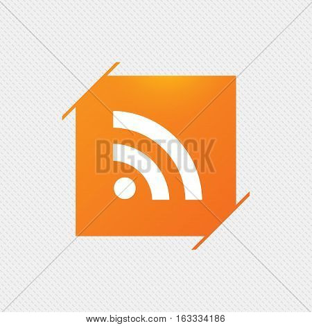 RSS sign icon. RSS feed symbol. Orange square label on pattern. Vector