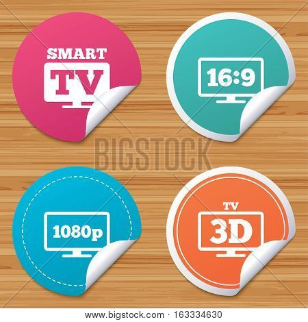 Round stickers or website banners. Smart TV mode icon. Aspect ratio 16:9 widescreen symbol. Full hd 1080p resolution. 3D Television sign. Circle badges with bended corner. Vector