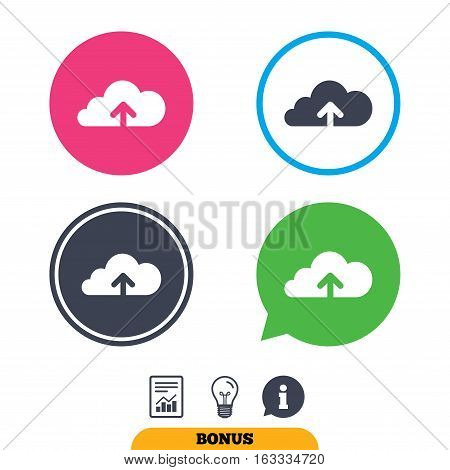 Upload from cloud icon. Upload button. Load symbol. Report document, information sign and light bulb icons. Vector