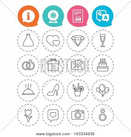Wedding and party icons. Dress, diamond and rings. Gift box, invitatiom letter and rose flower. Speech bubble with heart and photo camera. Information, question and answer icons. Vector