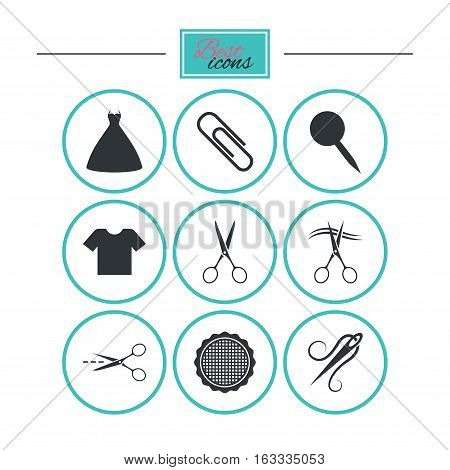 Tailor, sewing and embroidery icons. Scissors, safety pin and needle signs. Shirt and dress symbols. Round flat buttons with icons. Vector