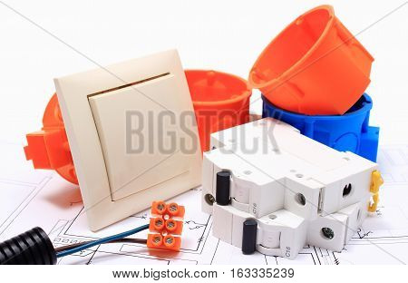 Components for use in electrical installations and electrical diagrams accessories for engineering work energy concept