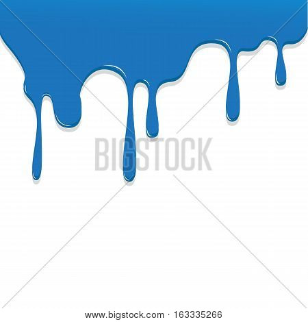 Paint Blue Color Dripping, Color Droping Background Vector Illustration