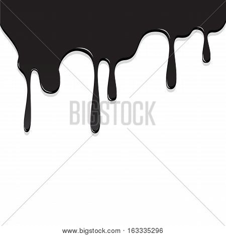 Paint Black Color Dripping, Color Droping Background Vector Illustration