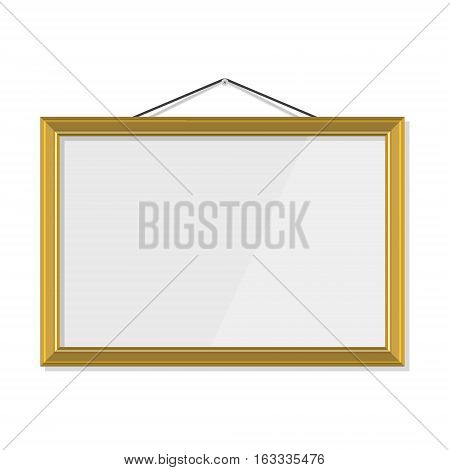 Vector illustration golden gold picture frame hanging on the wall. Photo frame. Empty gold frame hanging on the wall