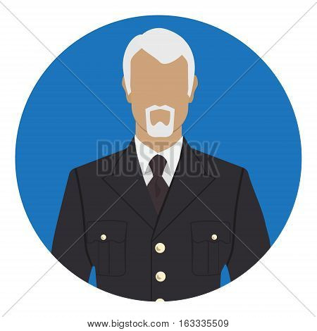 Vector illustration of soldier commander major general in military uniform warpaint. Captain jacket with tie