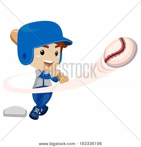 Vector Illustration of Baseball Player Kid Boy Hit the ball