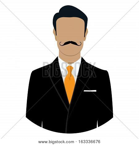 Vector illustration man icon. Businessman in black suit with mustache avatar flat design. Male face avatar