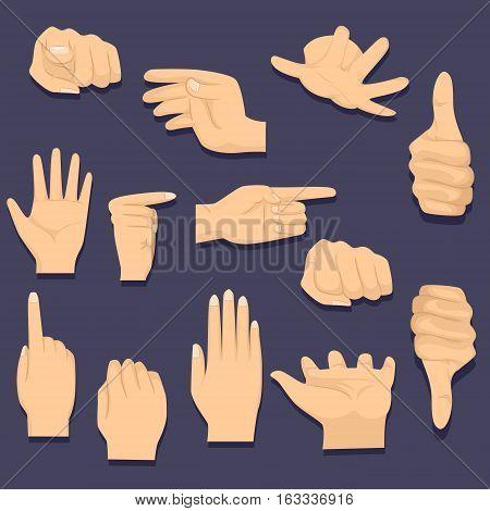 Vector Illustration of Different Hand Gesture on Black Background