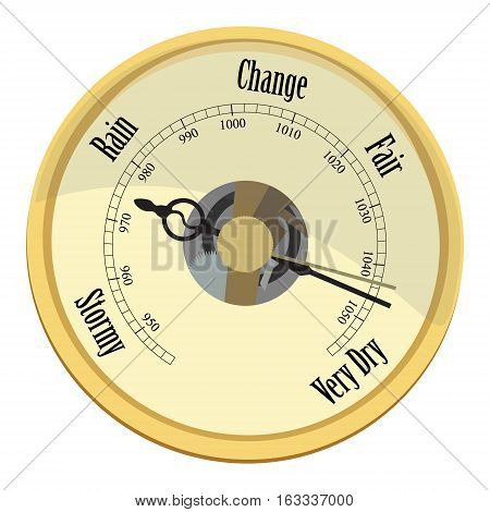 Vector illustration golden aneroid barometer isolated on white background. Rain and stormy fair and very dry change. Barometer indicates very dry