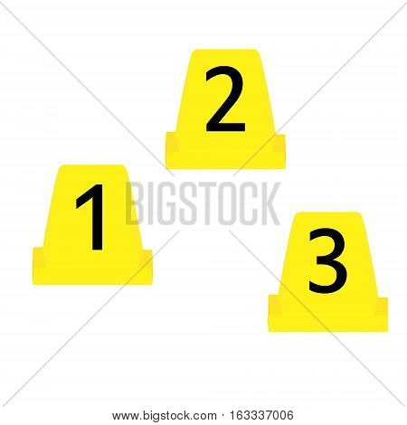 Vector illustration set of three yellow marker of crime scene with numbers 123. Evidence marker.