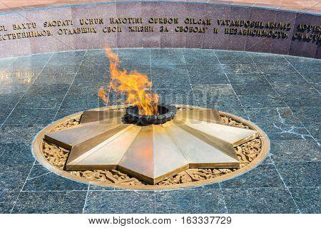 Eternal Flame At The Memorial Square Of Memory In Tashkent, Uzbekistan.