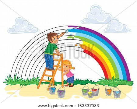 Vector illustration of a carefree young children paint a rainbow of colors