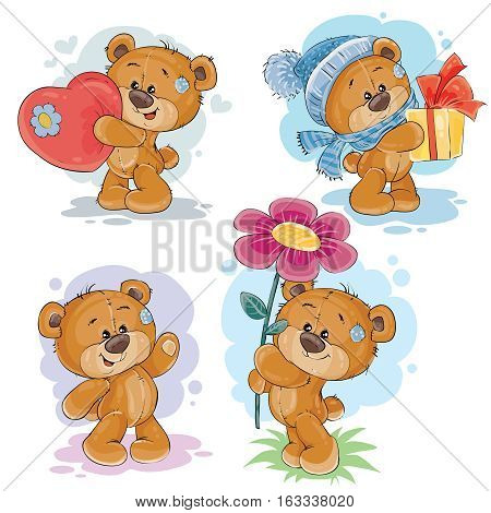 Set of vector clip art illustrations of teddy bears in various poses - holding a heart, flower, gift