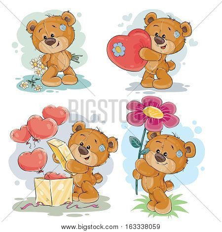 Set of vector clip art illustrations of enamored teddy bears in various poses - holding a bouquet of flowers, heart, unpacks the gift
