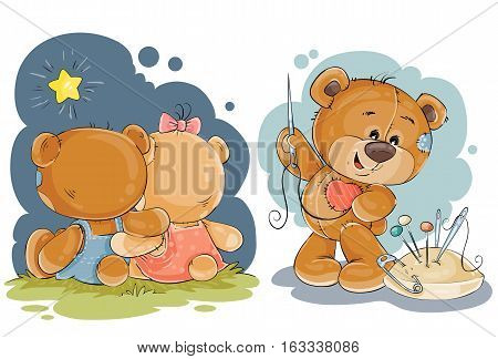 Set of vector clip art illustrations of enamored teddy bears in various poses - sitting embracing, admiring the stars, he sews himself heart