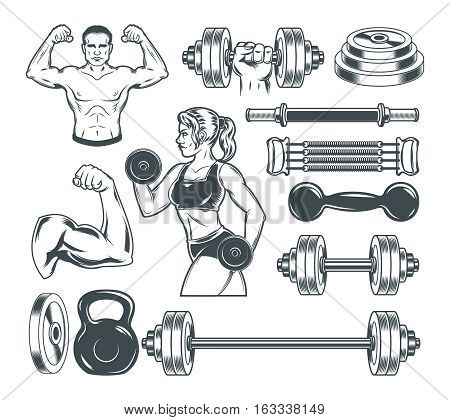 Set of vector icons for bodybuilding isolated on white.